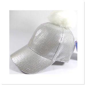 Silver Sparkles Pom Pom Cap